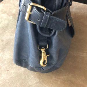 Anthropologie Navy leather shoulder bag.